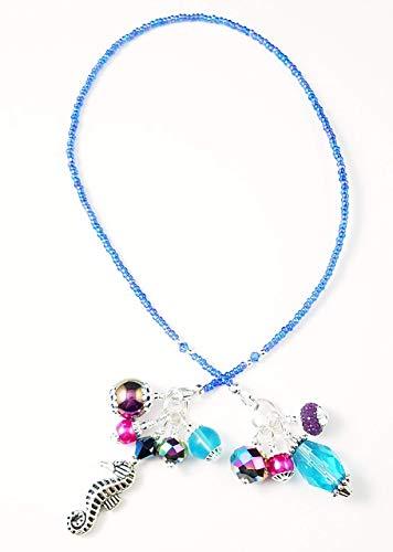Handmade Beaded Bookmark~Blue Purple Pink~Seahorse~Swarovski Crystal~Book Thong