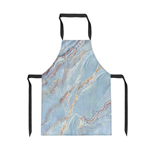 Pinbeam Apron Brown Stone Marble Beige White Pattern Black Wood with Adjustable Neck for Cooking Baking Garden