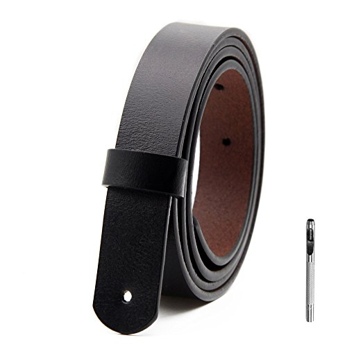 Short Genuine Leather (Womens Genuine Leather Belts Vintage Casual Thin Woman Belt For Jeans Shorts Pants Dresses 0.9″ Wide With Letter Buckle Black and Gift Box)