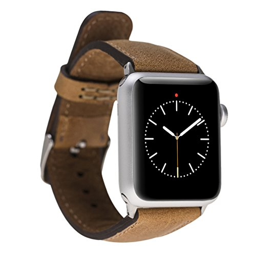 - Booyse Genuine Leather Watch band for Apple Watch 38mm Tan Color Strap with Classic Buckle Replacement iWatch Series 3 Series 2 Series 1 Sport and Edition