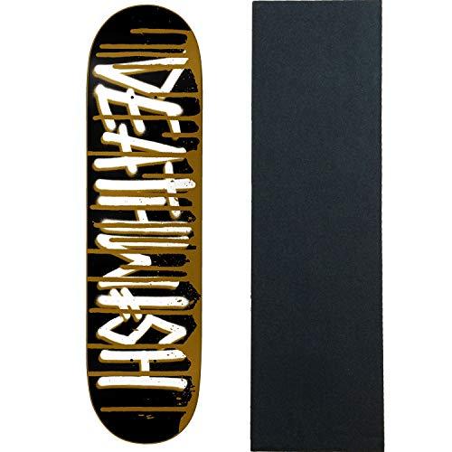 スマート流産貫通するDeathwish スケートボードデッキ デススプレードリップゴールド 8.0インチ グリップ付き