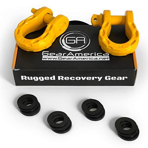 GearAmerica Mega Duty D Ring Shackles Yellow (2 PK) | 68000 lbs (34 US Ton) Strength | 3/4