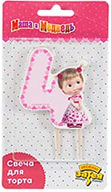 3.1inch Masha and the Bear Candle for Cake 4 Holiday Topper Party Cupcake Topper Candle 6 Years Baking Dessert Decorations Happy Birthday Anniversary Jubilee Supply Rose Girls