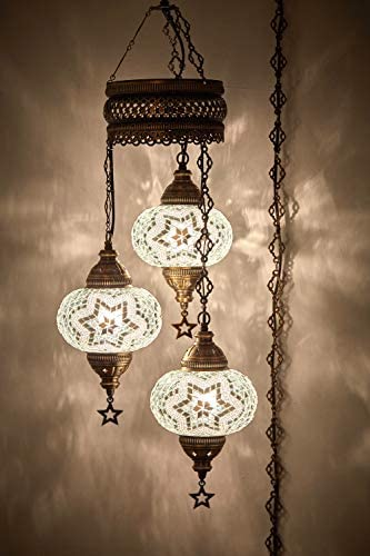 DEMMEX Turkish Moroccan Mosaic Hardwired OR Swag Wall Plug in Chandelier Light Ceiling Hanging Lamp Pendant Fixture 3 X 6.5 Globes – Swag