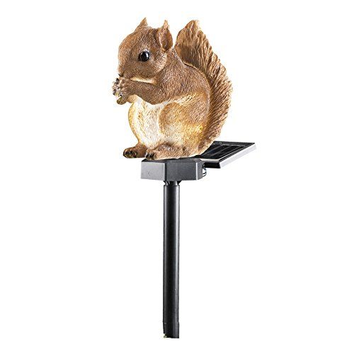 Collections Etc Outdoor Decorations, Squirrel, Lighted Solar Garden - Stake Squirrel
