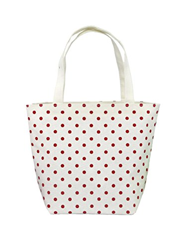 - Nuni Polka Dot Pattern Waterproof Canvas Tote Lunch Bag Small Size Beige (red)