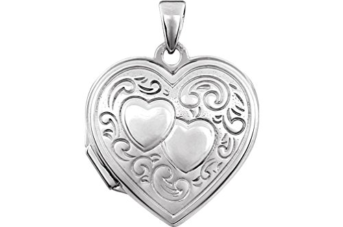 Sterling Silver Embossed Heart Locket with Two Hearts Design