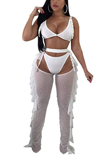(Yeshire Women's Sexy 2 Pieces Outfit See Through Crop Top and Pants Sets Mesh Backless Jumpsuits Clubwear XX-Large White)