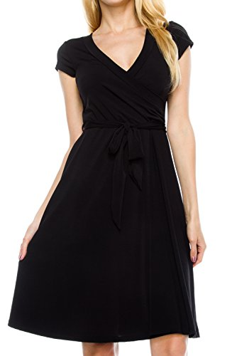 - KAYLYN KAYDEN KLKD J1I01 Women's Basic Solid Draped Self Tie A-Line Faux Wrap Dress Black Small