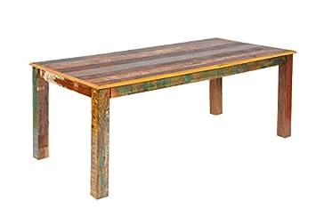 Esstisch massiv vintage  Tisch Esstisch 'Allegro' Altholz massiv bunt Holz vintage: Amazon ...
