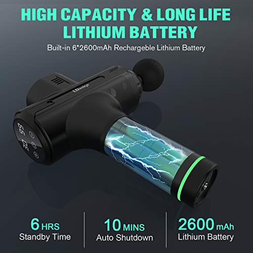 LDesign Massager Gun Handheld Deep Tissue Percussion Muscle Massage for Pain Relief, Portable Neck Back Body Relaxation Electric Drill Sport Massager Motor Quiet with 11 Attachments 30 Speeds, Black