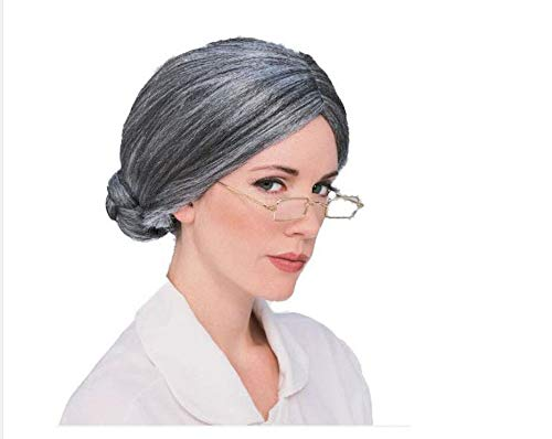 2 Set Old Lady Costume Wig Granny Grey Bun Wig Accessories for Dress Up (Lady Costume ()