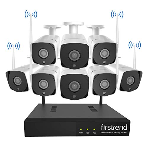 Wireless Security Camera System,Firstrend 1080P 8 Channel Video Security System with 2TB Hard Drive 8PCS 1MP HD Indoor Outdoor Wireless IP Cameras 65FT Night Vision Free APP