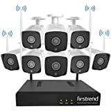 Firstrend Wireless Security Cameras System, 8CH 1080P HD Network IP NVR with 2TB Hard Drive and 4pcs HD 1.0MP Wireless Weatherproof Indoor Outdoor Surveillance Cameras with 65ft Night Vision