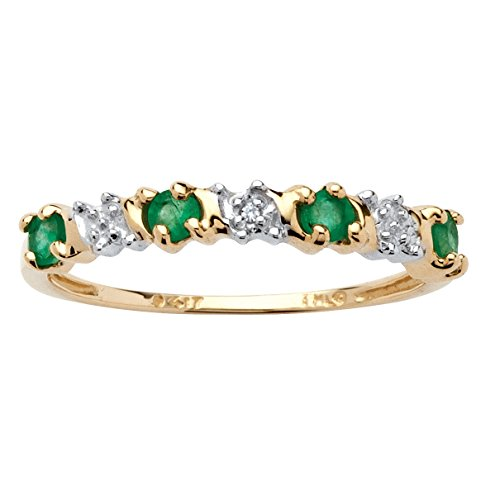 (Genuine Round Green Emerald and Diamond Accent 10k Yellow Gold Ring)