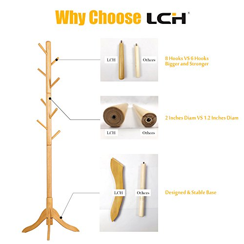 LCH Sturdy Standing Coat Rack Solid Rubber Wood Hall Tree Coat Tree with Tripod Base,8 Hooks(Honey) by LCH (Image #4)