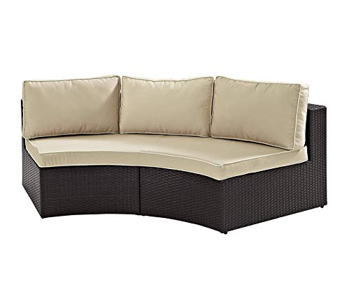 Crоslеy Furniturе Patio Outdoor Garden Premium Catalina Outdoor Wicker Round Sectional Sofa with Sand Cushions - Brown (Catalina Outdoor Sectional)