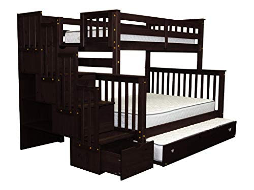 unk Beds Twin over Full with 4 Drawers in the Steps and a Twin Trundle, Cappuccino ()