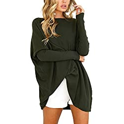 CoCo Fashion Women's O-Neck Bat Sleeve Oversized Blouse Tops T-Shirt (Large, Arm Green)