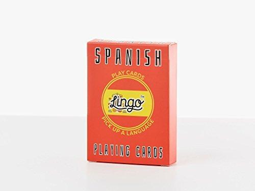 Spanish- Lingo Playing Cards | Language Learning Game Set | Fun Visual Flashcard Deck To Increase Vocabulary and Pronunciation Skills - 54 Useful Phrases