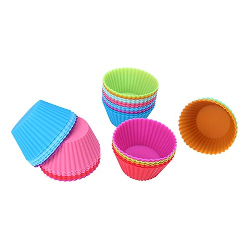 30pc/lot Round Silicone Muffin Cupcake Mould Case