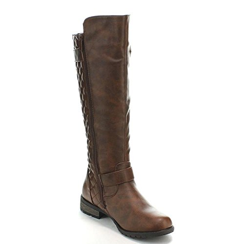 Forever Link Womens Zipper Accent Riding Combat Biker Knee High Boots (7.5 M, Premium Brown)