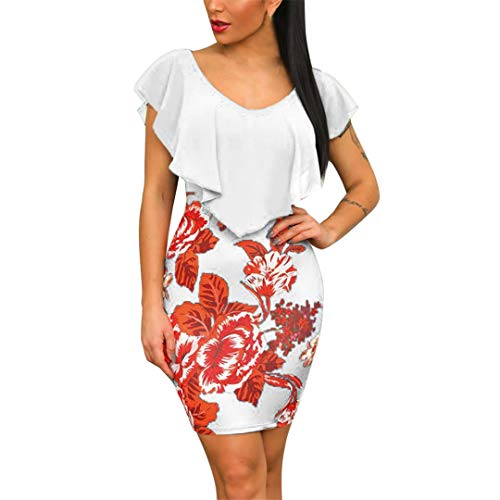 XVSSAA Women Summer Print Bag Hip Dress, Ladies Solid Color Ruffle Round Neck Bodycon Mini Short Dress White (Knit Ruffle Edge)