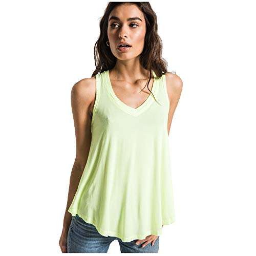 Z SUPPLY Clothing Women's Vagabond V Neck Tank Top, Neon Lime, Large