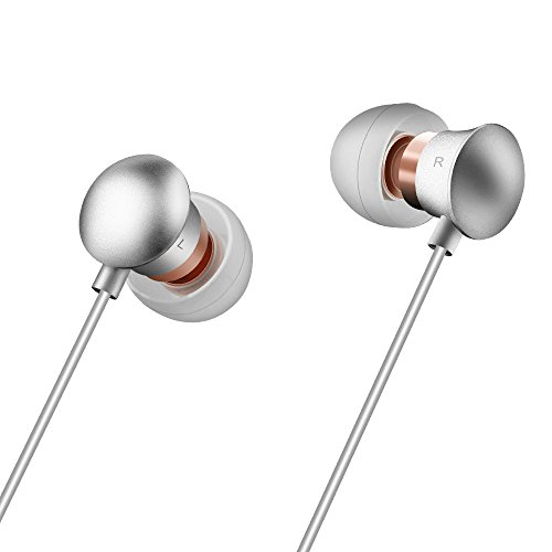Simptech in-Ear Earbuds/Earphones Headphones with Microphone, Bass Stereo Noise Isolating,Remote Control,Alluminum Alloy,Compatible for iPhone and Samsung Phones (Silver)