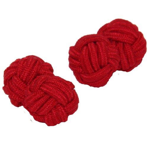 Red Shade Silk Knot Cufflinks | Cuffs & Co