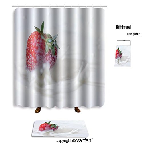 Vanfan Bath Sets With Polyester Rugs And Shower Curtain Strawberries And Milk 33492481 Shower Curtains Sets Bathroom 72 X 88 Inches 31 5 X 19 7 Inches Free 1 Towel And 12 Hooks