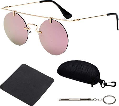 nobrand Retro Round Glasses, Frameless, Lightweight, Unisex Men Women's Fashion Sunglasses 4Pcs(0003:Golden Frame + Pink Lenses C5)