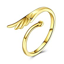 Anazoz Gold Plated Opening Delicate Feather Women Knuckle Rings