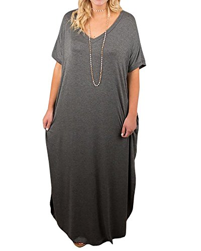 Womens Plus Size V Neck Summer Loose Dresses Casual Plain Side Split Pockets Maxi Dress (Best Sunglasses For Plus Size)