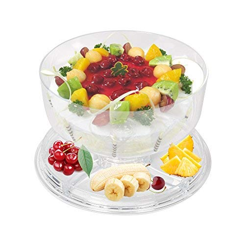 Dporticus 6-in-1 Acrylic Cake Stand Multifunctional Cake and Serving Stand With Dorm Salad Server with Sectional Platter Punch Bowl BPA Free ()