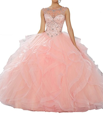 Jeweled Illusion Neckline Flounced Ball Gown Quinceanera Dress for Women 6 US Pink