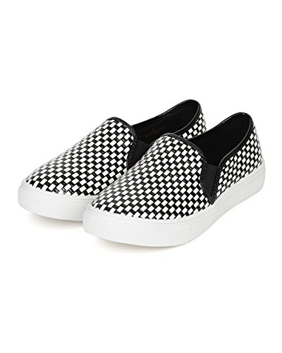 Sneaker Slip Elastic Patent On Misbehave CE63 Flat Checker Weave Women Tnvq0