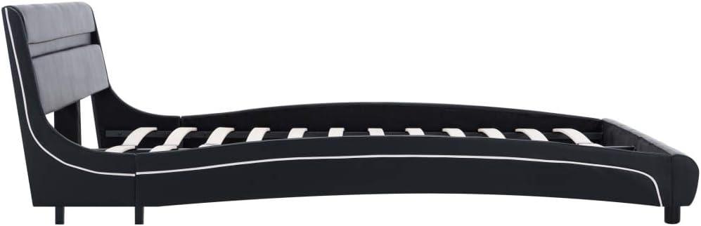 Sommier /à Lattes Cadre de lit avec LED Noir Similicuir 160 x 200 cm Festnight Cadre de Lit Adulte