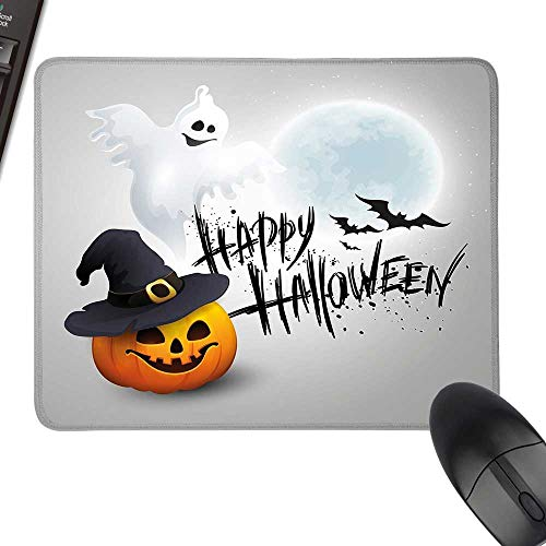 Halloween Wrist Comfort Mouse Pad Happy Celebration Typography Stained Look Cute Ghost Pumpkin Hat Print with Stitched Edges 11.8