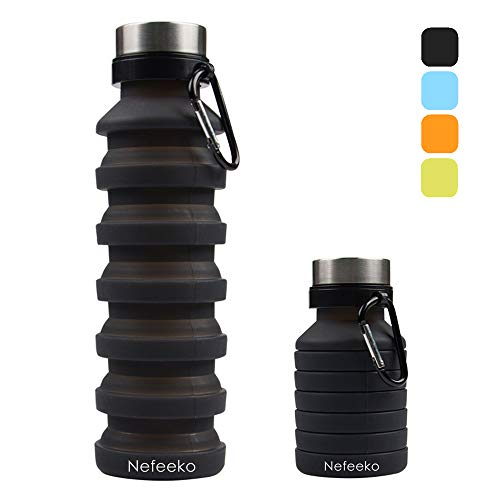 Nefeeko Sports Water Bottle, Collapsible Silicone Water Bottle for Travel Gym Camping Hiking Running, Portable Outdoor Foldable Leak Proof Water Bottles with Hook, BPA-Free, 18oz(Black)