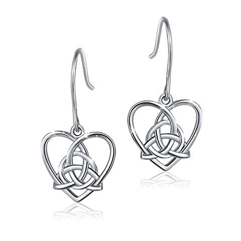 925 Sterling Silver Good Luck Irish Celtic Knot Triangle Vintage Love Heart Earring - Celtic Love Symbol
