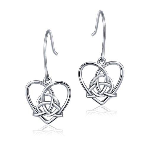 Celtic Knot Heart Earrings (925 Sterling Silver Good Luck Irish Celtic Knot Triangle Vintage Love Heart Earring)