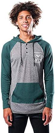 NFL mens Fleece Hoodie Pullover Sweatshirt Henley Team Color