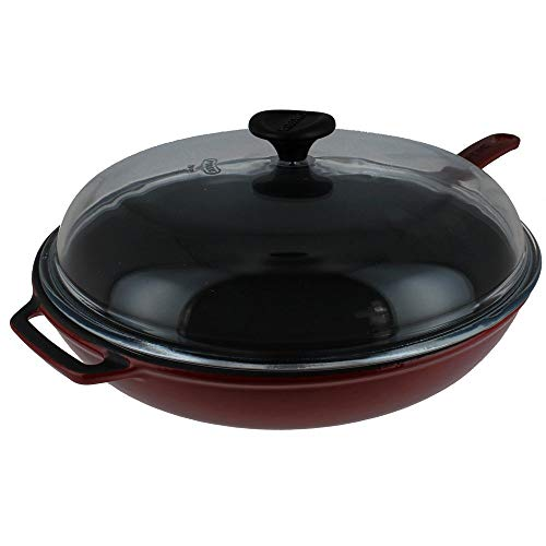 Chasseur 11-inch Red French Enameled Cast Iron Fry pan with Glass Lid