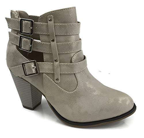 62 and Three Strap Heel Chunky with Short Buckled Camila Boots Champagne Riding Women's Ankle Forever Shoes CFtqHH