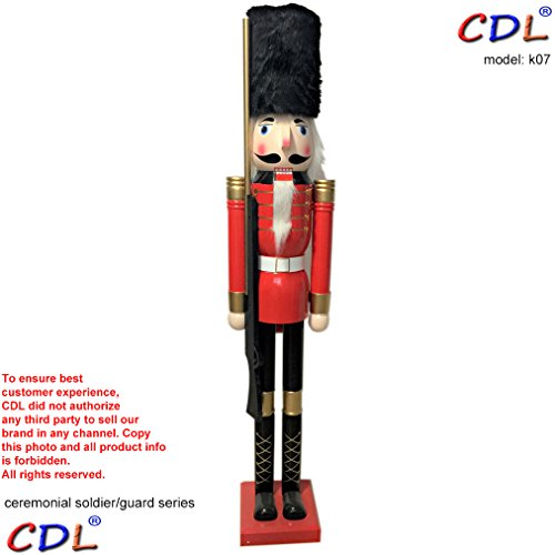 CDL 6ft tall life-size large/giant Christmas wooden nutcracker soldier ornament on stand carry ceremonial gun for indoor outdoor Xmas/event/ceremonies/commercial decoration(6 feet, soldier red k07) by CDL (Image #1)