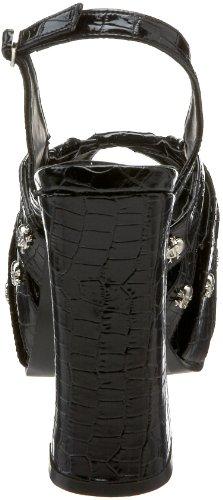 Demonia Black by Womens Patent Charade 30 Pleaser Crocodile Sandal rxrYqSAw