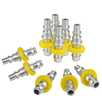 WYNNsky Air Compressor Fittings,3/8'' NPT ARO Type Push On and Lock Zinc-Plated Air Plug with 3/8'' Hose Barb for 3/8'' Inch Hose Connection,10-Piece Air Hose Quick-Connect kit