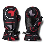 Columbia boys Y Core Mitten Cold Weather Gloves, Black Typo Multi Print, Medium US