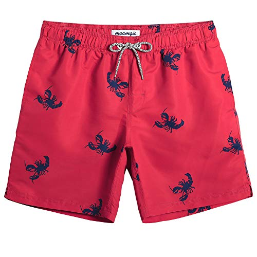 MaaMgic Mens Quick Dry Printed Short Swim Trunks with Mesh Lining Swimwear Bathing Suits (Red Sea Lobster, XX-Large(Waist:37